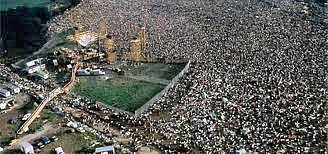 Woodstock seen from the air during the happening